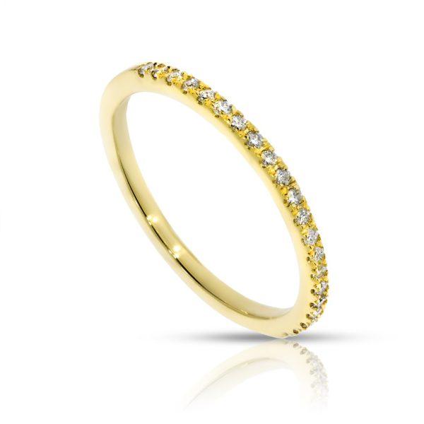 מצטיין טבעת שורה חצי משובצת עשויה זהב צהוב ,משובצת 21 יהלומים במשקל 0.15 GC-04