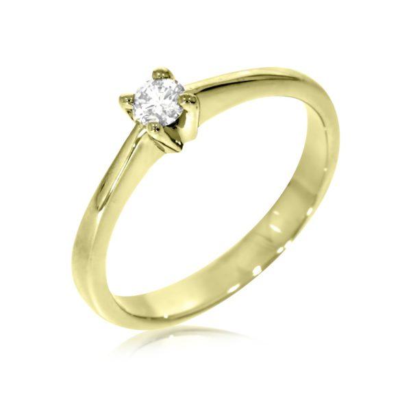 מעולה טבעת אירוסין סוליטר זהב צהוב 0.17 קראט יהלומים. MZ-34